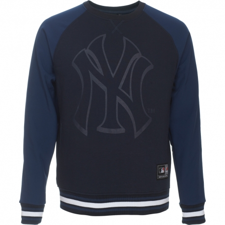 Majestic Raglan Mix Fabric Crew Sweat NY Yankees