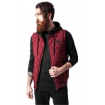 Urban Classics Diamond Quilted Hooded Vest bordová