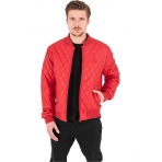 Urban Classics Diamond Quilt Leather Imitation Jacket červená