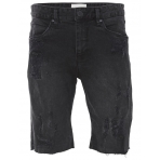 Shine Drop Crotch Short Jeans Rip Čierne