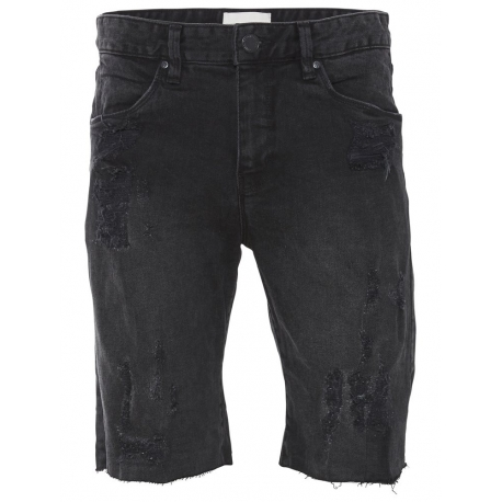 Shine Drop Crotch Short Jeans Rip Čierne