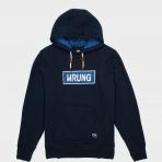 WRUNG HOODY NAME BOX NAVY BLUE