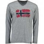 Geographical Norway Jacardi Ls T-Shirt Light Grey