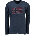 Geographical Norway Jacardi Ls T-Shirt Navy