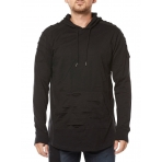 SOUTH POLE RIPPED HOODY BLACK