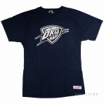 Mitchell & Ness Black And White Logo Traditional Tee Okc Thunder Navy