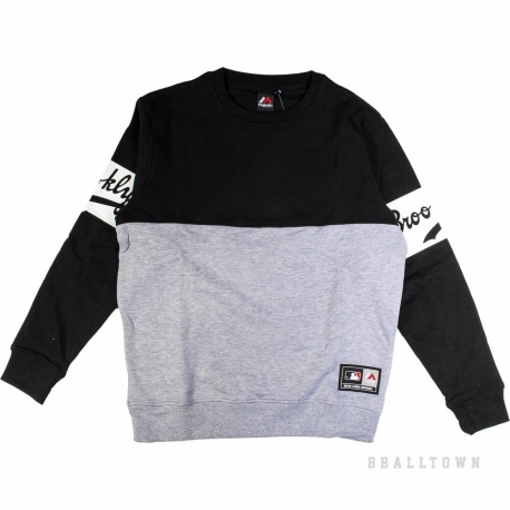 Majestic Gypso Cut&Sew Crew Sweat Black Brooklyn Dodgers