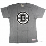 Mitchell & Ness Black And White Logo Traditional Tee Boston Bruins Grey