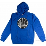 Mitchell & Ness Black And White Logo Pullover Hoody Golden State Warriors Blue
