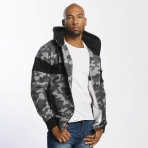 Thug Life Men Zip Hoodie Bar in grey