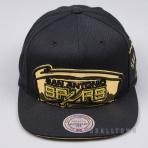 MITCHELL & NESS NBA PATENT CROPPED SNAPBACK SAN ANTONIO SPURS BLACK/GOLD