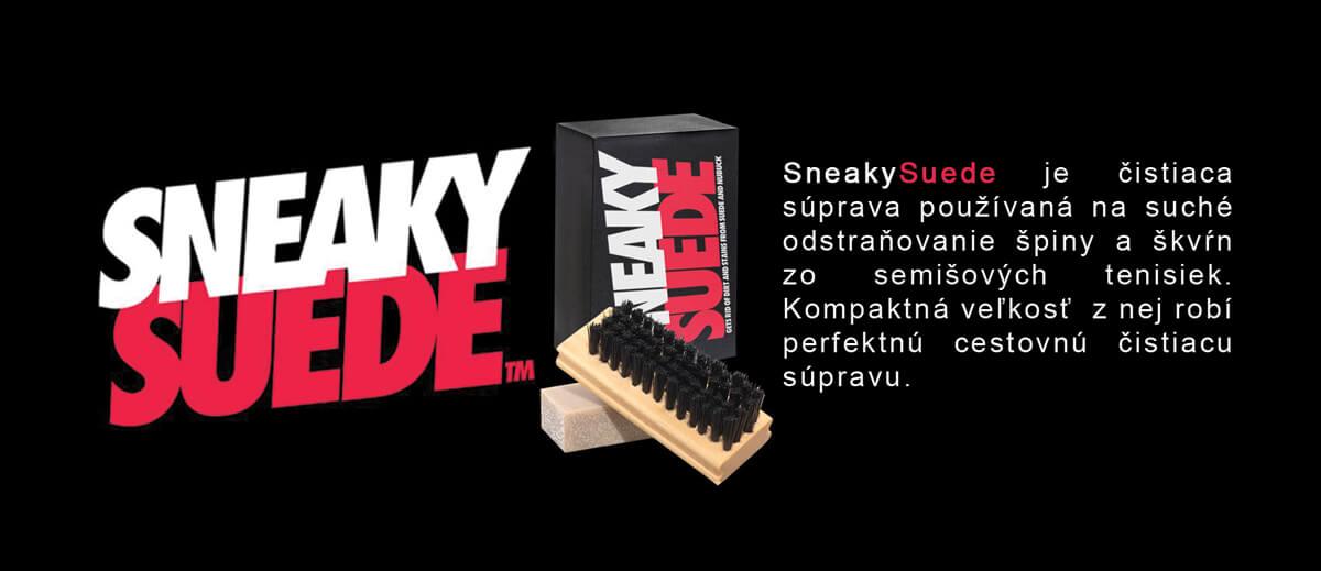 SneakySuede je čistiaca súprava používaná na suché odstraňovanie špiny a škvŕn zo semišových tenisiek. Kompaktná veľkosť  z nej robí perfektnú cestovnú čistiacu súpravu.