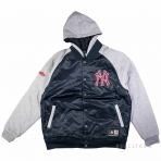 Majestic Brisk Hooded Mix Fabric Jacket Navy New York Yankees