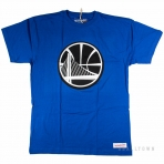 Mitchell & Ness Black And White Logo Traditional Tee Golden State Warriors Blue