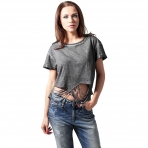 Urban Classics Ladies Cutted Cropped Tee Darkgrey