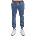 GRIMEY RIB ELASTIC JOGGER PANT WASHED DENIM