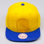 MITCHELL & NESS NBA CROPPED SATIN SNAPBACK GOLDEN STATE WARRIORS YELLOW/ROYAL