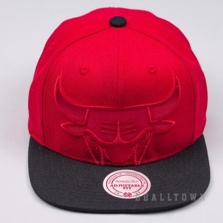 MITCHELL & NESS NBA CROPPED SATIN SNAPBACK CHICAGO BULLS RED/BLACK