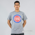 Mitchell & Ness Distressed Hwc Team Logo Traditional Tee Detroit Pistons Grey