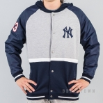 MAJESTIC HOODED MIXED FABRIC VARSITY JACKET NEW YORK YANKEES NAVY